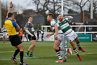 TRY - Harry Sloan of Ealing Trailfinders touches the ball down during the Championship Cup Quarter Final match between Ealing Trailfinders and Nottingham Rugby at Castle Bar , West Ealing , England  on 2 February 2019. Photo by Carlton Myrie / PRiME Media Images.