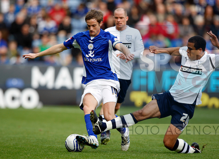 Leicester City v Preston North End..Leicesters Andy King with Prestons Darel Russell
