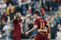 Football, Serie A: AS Roma - Sampdoria, Olympic stadium, Rome, November 11, 2018. <br /> Roma's Patrick Schick (r) celebrates after scoring with his teammate Kostas Manolas (l) during the Italian Serie A football match between Roma and Sampdoria at Rome's Olympic stadium, on November 11, 2018.<br /> UPDATE IMAGES PRESS/Isabella Bonotto