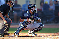 Tampa Yankees catcher Santiago Nessy (19) during a game against the Lakeland Flying Tigers on April 7, 2016 at Henley Field in Lakeland, Florida.  Tampa defeated Lakeland 9-2.  (Mike Janes/Four Seam Images)