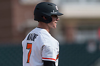 Oregon State Beavers right fielder Tyler Malone (7) stands on third base during a game against the New Mexico Lobos on February 15, 2019 at Surprise Stadium in Surprise, Arizona. Oregon State defeated New Mexico 6-5. (Zachary Lucy/Four Seam Images)