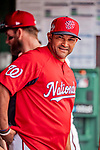 20 May 2018: Washington Nationals Manager Dave Martinez in the dugout prior to a game against the Los Angeles Dodgers at Nationals Park in Washington, DC. The Dodgers defeated the Nationals 7-2, sweeping their 3-game series. Mandatory Credit: Ed Wolfstein Photo *** RAW (NEF) Image File Available ***