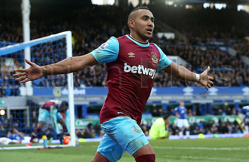 05.03.2016. Goodison Park, Liverpool, England. Barclays Premier League. Everton versus West Ham. Dmitri Payet of West Ham United celebrates his winning goal for a late score of  2-3