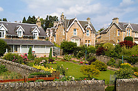 Typical beautiful English gardens in Pitlochry Scotland in Highlands