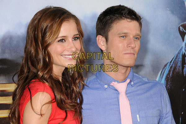 "Candace Bailey & Kevin Pereira.""Cowboys & Aliens"" World Premiere held at the San Diego Civic Theatre, San Diego, California, USA..July 23rd, 2011.headshot portrait smiling blue pink tie red  .CAP/ADM/BP.©Byron Purvis/AdMedia/Capital Pictures."
