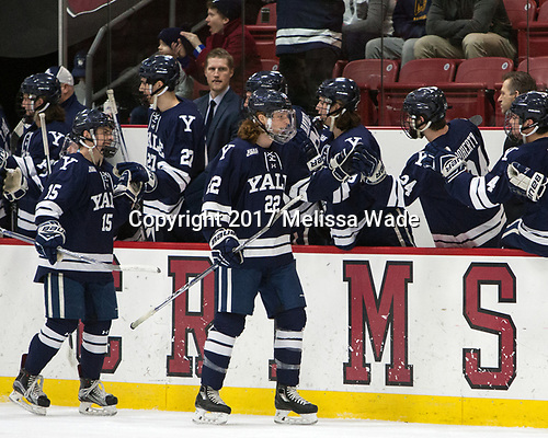 Henry Hart (Yale - 15), JM Piotrowski (Yale - 22) - The Harvard University Crimson defeated the Yale University Bulldogs 6-4 in the opening game of their ECAC quarterfinal series on Friday, March 10, 2017, at Bright-Landry Hockey Center in Boston, Massachusetts.