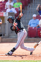 Lansing Lugnuts third baseman Gustavo Pierre #17 bats during a game against the Cedar Rapids Kernels at Veterans Memorial Stadium on April 30, 2013 in Cedar Rapids, Iowa. (Brace Hemmelgarn/Four Seam Images)