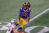 3rd February 2019, Atlanta Georgia, USA; NFL Superbowl LIII, New England Patriots versus Los Angeles Rams; Los Angeles Rams inside linebacker Cory Littleton (58) intercepts a pass during the first quarter of Super Bowl LIII