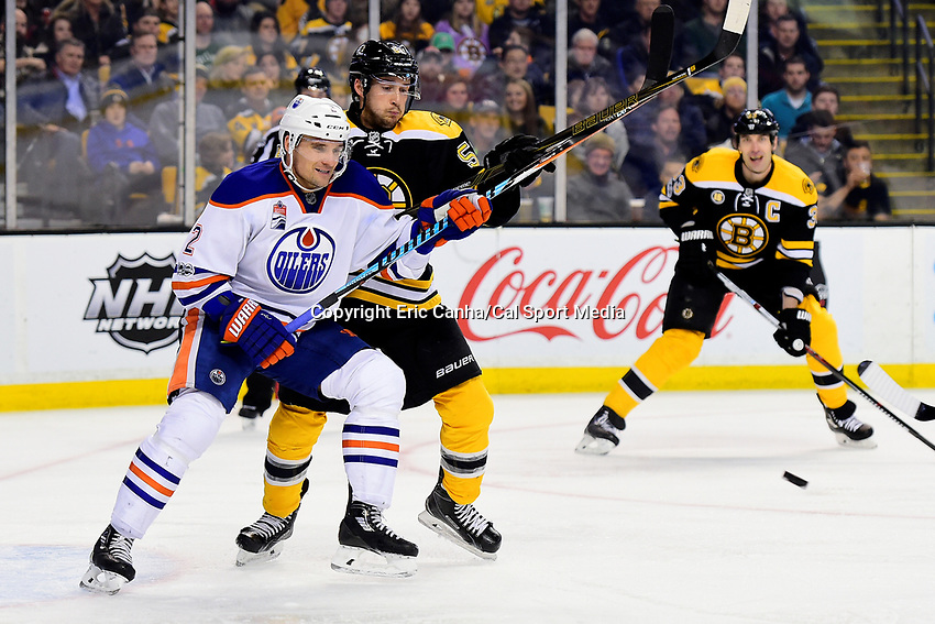 during the National Hockey League game between the Edmonton Oilers and the Boston Bruins held at TD Garden, in Boston, Mass. Edmonton defeats Boston 4-3 in regulation time. Eric Canha/CSM