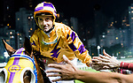 Jockey Douglas Whyte riding #3 Electric Lightning shakes hands with fans after winning race 3 during Hong Kong Racing at Happy Valley Racecourse on October 24, 2018 in Hong Kong, Hong Kong. Photo by Yu Chun Christopher Wong / Power Sport Images