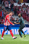 Atletico de Madrid's Jose Maria Gimenez and Chelsea's Michy Batshuayi celebrating a goal during UEFA Champions League match between Atletico de Madrid and Chelsea at Wanda Metropolitano in Madrid, Spain September 27, 2017. (ALTERPHOTOS/Borja B.Hojas)