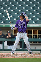 MJ Sasapan (41) of the Furman Paladins at bat against the Wake Forest Demon Deacons at BB&T BallPark on March 2, 2019 in Charlotte, North Carolina. The Demon Deacons defeated the Paladins 13-7. (Brian Westerholt/Four Seam Images)