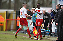 Lucas Akins of Stevenage celebrates scoring their third goal with James Dunne. Stevenage v Sheffield United - npower League 1 -  Lamex Stadium, Stevenage - 16th March, 2013. © Kevin Coleman 2013.. . . .
