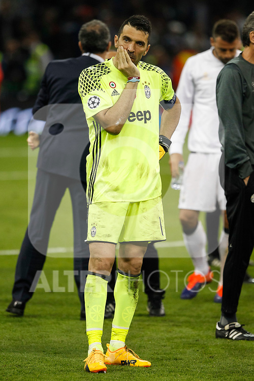 Gianluigi Buffon of Juventus looks dejected after the UEFA Champions League Final match between Juventus and Real Madrid at the Principality Stadium on June 3rd 2017 in Cardiff, Wales.