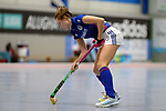 Mannheim, Germany, January 07: During the 1. Bundesliga Damen Hallensaison 2017/18 Sued  hockey match between Mannheimer HC (blue) and Nuernberger HTC (red) on January 7, 2018 at Irma-Roechling-Halle in Mannheim, Germany. Final score 8-1 (HT 5-1). (Photo by Dirk Markgraf / www.265-images.com) *** Local caption *** Cecile Pieper #3 of Mannheimer HC