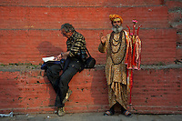 Life at Durbar Square and old Town Area, a Journalist and a Sadhu