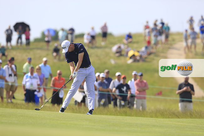 Justin Thomas (USA) plays his 2nd shot on the 7th hole during Wednesday's Practice Day of the 117th U.S. Open Championship 2017 held at Erin Hills, Erin, Wisconsin, USA. 14th June 2017.<br /> Picture: Eoin Clarke | Golffile<br /> <br /> <br /> All photos usage must carry mandatory copyright credit (&copy; Golffile | Eoin Clarke)