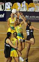 16.11.2007 Australian Catherine Cox in action during the Silver Ferns v Australia Final at the New World Netball World Champs held at Trusts Stadium Auckland New Zealand. Mandatory Photo Credit ©Michael Bradley. ***FREE FOR EDITORIAL USE***