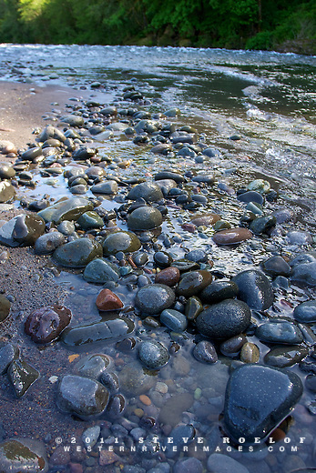 Cobble, rocks, pebbles, and sand on a sandbar of the Sandy River.