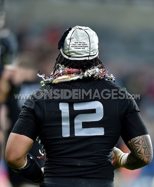 A general view of Ma'a Nonu after the presentation of his 100th cap. Rugby World Cup Pool C match between New Zealand and Tonga on October 9, 2015 at St James' Park in Newcastle, England. Photo by: Patrick Khachfe / Onside Images