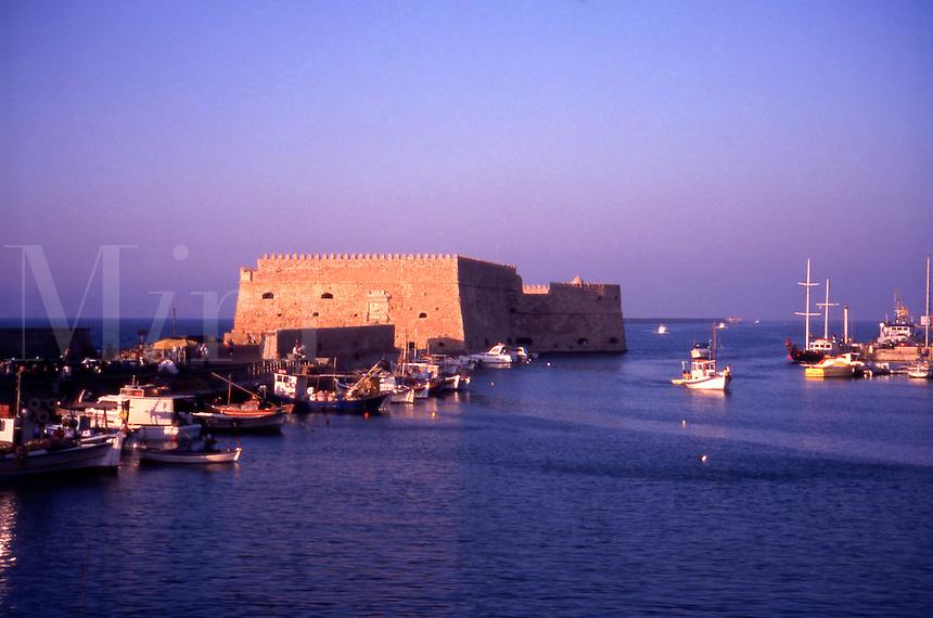Iraklion Harbour, Crete. Greece. The 16th Century Venetian Fortress. Rocca al Mare