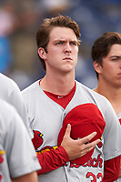 Palm Beach Cardinals pitcher Jake Woodford (33) during the national anthem before a game against the Clearwater Threshers on April 14, 2017 at Spectrum Field in Clearwater, Florida.  Clearwater defeated Palm Beach 6-2.  (Mike Janes/Four Seam Images)