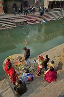dead Body at Shambhu Nath Hindu traditional Cremation Area, just before cremation Kathmandu, Nepal
