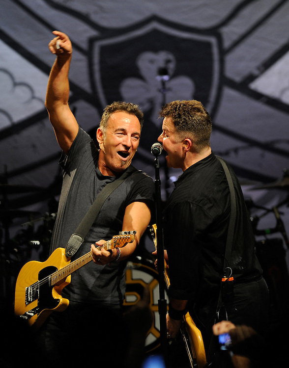 Bruce Springsteen joins Ken Casey of the Dropkick Murphys during their show at the House of Blues on Friday, March on 18, 2011.  Staff photo by Christopher Evans