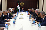 Palestinian President Mahmoud Abbas chairs a meeting of the Central Committee of the Fatah movement, in the West Bank city of Ramallah, on July 20, 2019. Photo by Thaer Ganaim