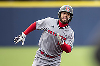 Rutgers Scarlet Knights first baseman Chris Brito (15) runs to third base against the Michigan Wolverines on April 27, 2019 in the NCAA baseball game at Ray Fisher Stadium in Ann Arbor, Michigan. Michigan defeated Rutgers 10-1. (Andrew Woolley/Four Seam Images)
