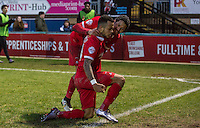 Jobi McAnuff of Leyton Orient congratulates Calaum Jahraldo-Martin of Leyton Orient on his goal during the Sky Bet League 2 match between Wycombe Wanderers and Leyton Orient at Adams Park, High Wycombe, England on 23 January 2016. Photo by Massimo Martino / PRiME Media Images.