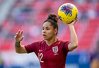 HARRISON, NJ - MARCH 08: Demi Stokes #12 of England throws the ball in during a game between England and Japan at Red Bull Arena on March 08, 2020 in Harrison, New Jersey.