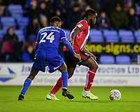 Lincoln City's John Akinde shields the ball from Shrewsbury Town's Ethan Ebanks-Landell<br /> <br /> Photographer Andrew Vaughan/CameraSport<br /> <br /> The EFL Sky Bet League One - Shrewsbury Town v Lincoln City - Saturday 11th January 2020 - New Meadow - Shrewsbury<br /> <br /> World Copyright © 2020 CameraSport. All rights reserved. 43 Linden Ave. Countesthorpe. Leicester. England. LE8 5PG - Tel: +44 (0) 116 277 4147 - admin@camerasport.com - www.camerasport.com