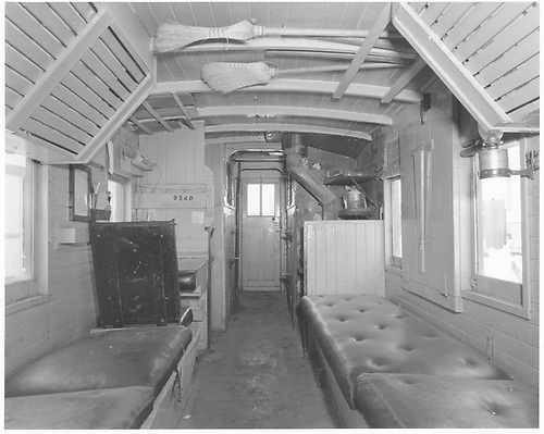 Long caboose #0540 interior view.<br /> D&amp;RGW  Durango, CO  Taken by Payne, Andy M. - 12/22/1971