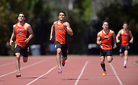 Apr 11, 2015; Los Angeles, CA, USA; Occidental College runners compete in a 400m heat in a SCIAC multi dual meet at Occidental College. From left: Gregory Capra and Connor Pendleton and Ethan Vu and Daniel  Capparella. Photo by Kirby Lee