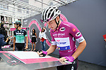 Maglia Ciclamino Elia Viviani (ITA) Quick-Step Floors at sign on before the start of Stage 15 of the 2018 Giro d'Italia, running 156km from Tolmezzo to Sappada, Italy. 20th May 2018.<br /> Picture: LaPresse/Gian Mattia D'Alberto | Cyclefile<br /> <br /> <br /> All photos usage must carry mandatory copyright credit (&copy; Cyclefile | LaPresse/Gian Mattia D'Alberto)