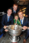Kerry senior's Kieran o'Leary, Johnny Buckley, Fionn Fitzgerald with Kerry fan Gavin Keane at the homecoming celebratation in Killarney on Monday night.<br /> Picture by Don MacMonagle