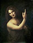 St. John the Baptist  1513-16 Leonardo da Vinci (1452-1519 Italian) Oil on canvas  Musee du Louvre, Paris, France