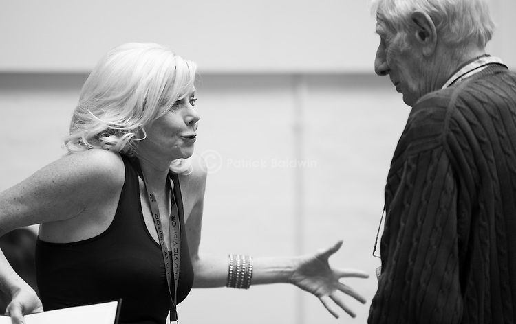 """King Lear"" rehearsed reading rehearsals. Old Vic Theatre. Director: Jonathan Miller. Felicity Dean, Jonathan Miller."