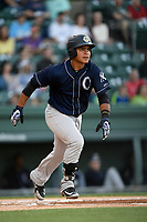 Catcher Eduardo Navas (17) of the Charleston RiverDogs bats in a game against the Greenville Drive on Friday, April 27, 2018, at Fluor Field at the West End in Greenville, South Carolina. Greenville won, 5-4. (Tom Priddy/Four Seam Images)