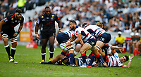 DURBAN, SOUTH AFRICA - MARCH 23: Michael Ruru of the Melbourne Rebels during the Super Rugby match between Cell C Sharks and Rebels at Jonsson Kings Park on March 23, 2019 in Durban, South Africa. Photo: Steve Haag / stevehaagsports.com