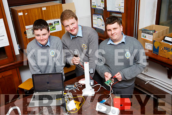 Representing CBS in the upcoming BT Young Scientists Exhibition, l to r, Conor Crowley (Blennerville), Seamus Knightley (Aunnacaul) and Kian Tranc of Tralee.