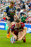 Wigan Warriors' Liam Marshall scores his side's fifth try<br /> <br /> Photographer Alex Dodd/CameraSport<br /> <br /> Betfred Super League Round 15 - Magic Weekend - Wigan Warriors v Warrington Wolves - Saturday 19th May 2018 - St James' Park - Newcastle<br /> <br /> World Copyright &copy; 2018 CameraSport. All rights reserved. 43 Linden Ave. Countesthorpe. Leicester. England. LE8 5PG - Tel: +44 (0) 116 277 4147 - admin@camerasport.com - www.camerasport.com