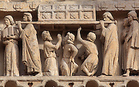 Procession carrying the relics of saint Firmin to the cathedral, with 3 paralysed men touching the casket to be healed, from the tympanum of the South portal or St Honore portal on the South transept of the Basilique Cathedrale Notre-Dame d'Amiens or Cathedral Basilica of Our Lady of Amiens, built 1220-70 in Gothic style, Amiens, Picardy, France. St Honore or Honoratus was the 7th bishop of Amiens who lived in the 6th century AD. Amiens Cathedral was listed as a UNESCO World Heritage Site in 1981. Picture by Manuel Cohen