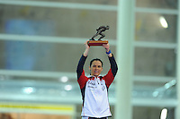 SPEED SKATING: STAVANGER: Sørmarka Arena, 31-01-2016, ISU World Cup, Brittany Bowe (USA) receives the Oscar Mathisen Award, ©photo Martin de Jong