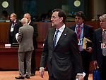 Brussels-Belgium - June 29, 2012 -- European Council, EU-summit meeting of Heads of State / Government; here, Mariano RAJOY BREY (ce), Prime Minister of Spain, followed by his Head of Cabinet, Jorge MORAGAS (2.ri) and Alfonso DASTIS QUECEDO (ri), Ambassador Extraordinary and Plenipotentiary Permanent Representative of Spain to the EU -- Photo: © HorstWagner.eu