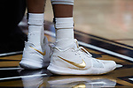 Keyshawn Woods (1) wears a pair of Kyrie Irving Nike sneakers during the game against the Virginia Tech Hokies at the LJVM Coliseum on January 10, 2018 in Winston-Salem, North Carolina.  The Hokies defeated the Demon Deacons 83-75.  (Brian Westerholt/Sports On Film)