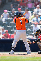 Ozzie Martinez (1) of the Bowie Baysox at bat against the Richmond Flying Squirrels at The Diamond on May 24, 2015 in Richmond, Virginia.  The Flying Squirrels defeated the Baysox 5-2.  (Brian Westerholt/Four Seam Images)