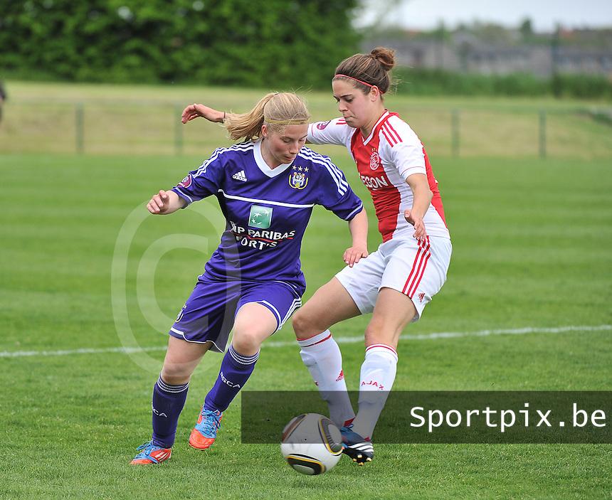 RSC Anderlecht Dames - Ajax Amsterdam : Jana Coryn en Tessel Middag (r).foto DAVID CATRY / Nikonpro.be