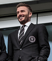 LOS ANGELES, CA - MARCH 01: David Beckham owner of Inter Miami CF looks on from his box during a game between Inter Miami CF and Los Angeles FC at Banc of California Stadium on March 01, 2020 in Los Angeles, California.